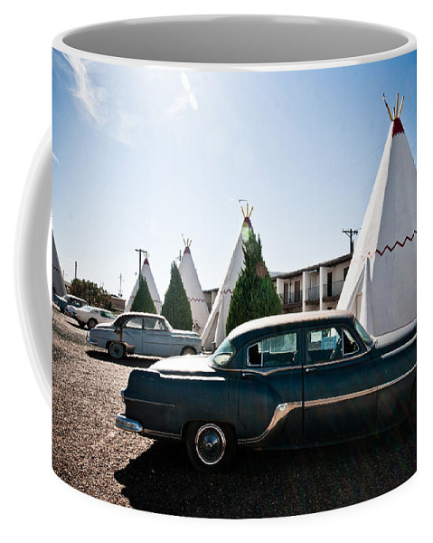 66 Coffee Mug featuring the photograph Wigwam Motel Classic Car #5 by Robert J Caputo