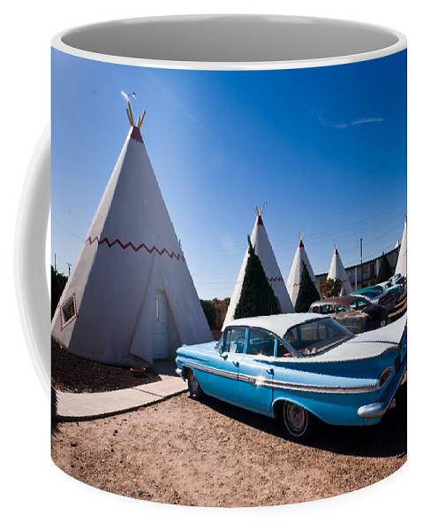 66 Coffee Mug featuring the photograph Wigwam Motel Classic Car #6 by Robert J Caputo