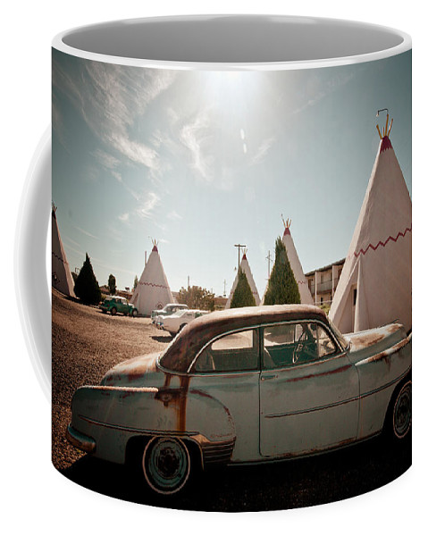 66 Coffee Mug featuring the photograph Wigwam Motel Classic Car #8 by Robert J Caputo