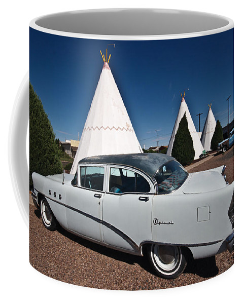 66 Coffee Mug featuring the photograph Wigwam Motel Classic Car by Robert J Caputo