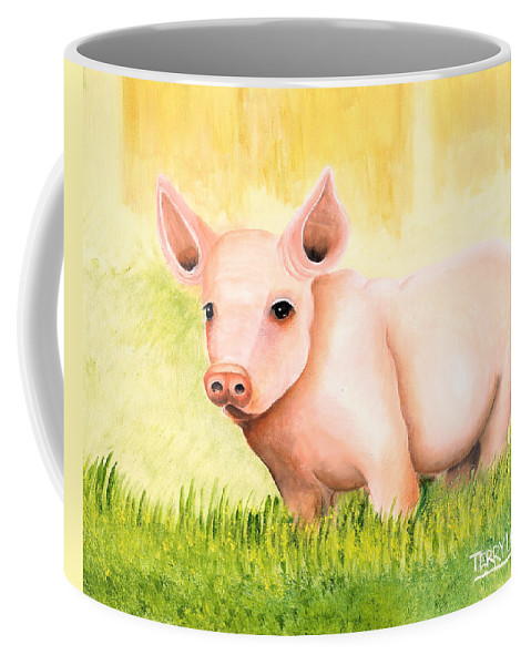 Pig Coffee Mug featuring the painting Wilber by Terry Lewey