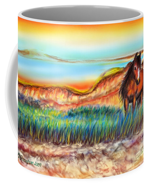 Wild Horse Art Coffee Mug featuring the painting Wild And Free Sable Island Horse by Patricia L Davidson