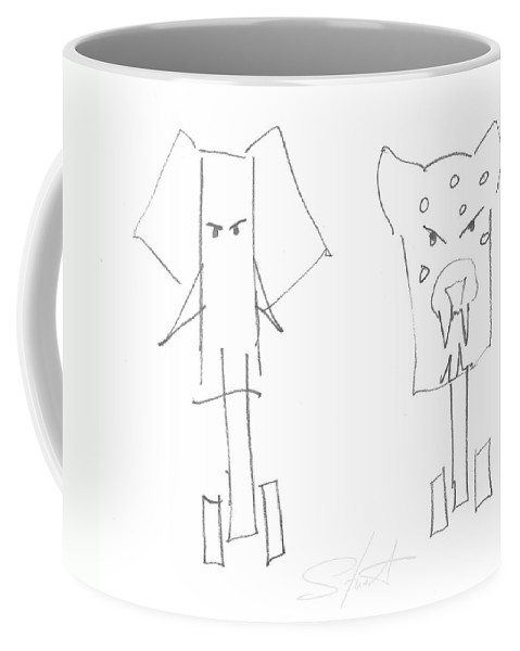 Elephant Coffee Mug featuring the painting Wild At Heart by Charles Stuart