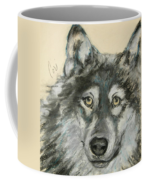 Wolf Coffee Mug featuring the drawing Wild At Heart by Cori Solomon