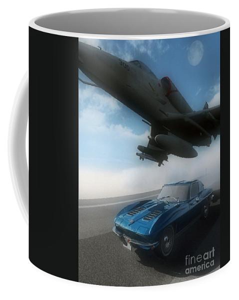 Automotive Coffee Mug featuring the digital art Wild Blue by Richard Rizzo