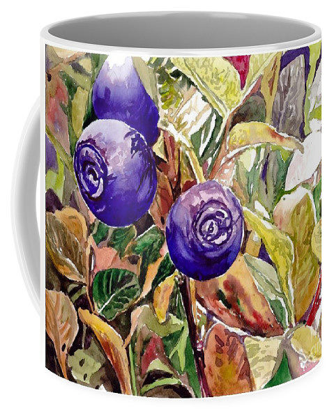 Wild Blueberries Coffee Mug featuring the painting Wild Blueberries by Suzann Sines