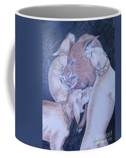 Hunting Coffee Mug featuring the drawing Wild Boar And Dogs by Larry Hazelwood