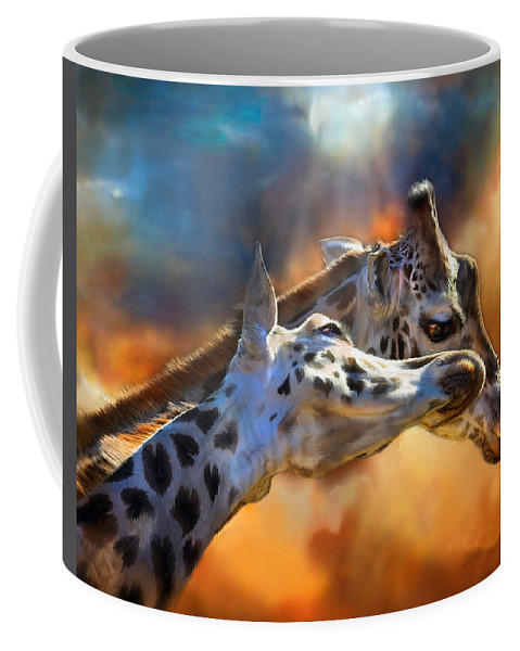 Giraffe Coffee Mug featuring the mixed media Wild Dreamers by Carol Cavalaris