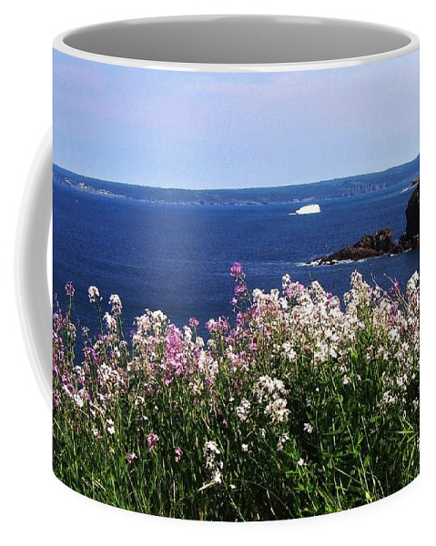Photograph Iceberg Wild Flower Atlantic Ocean Newfoundland Coffee Mug featuring the photograph Wild Flowers And Iceberg by Seon-Jeong Kim