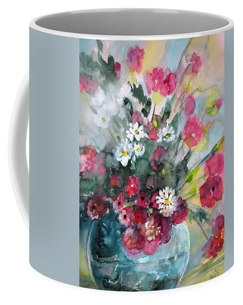 Wild Flowers Coffee Mug featuring the painting Wild Flowers Bouquet 01 by Miki De Goodaboom