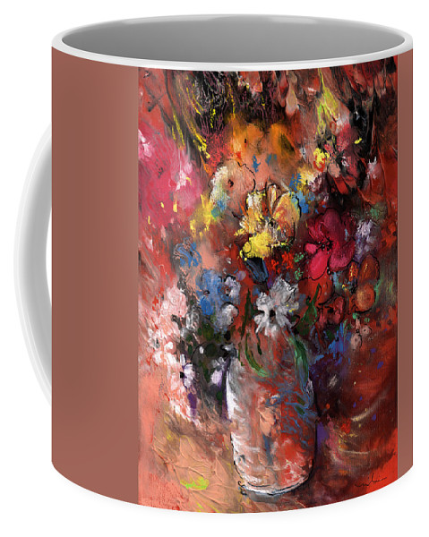 Flowers Coffee Mug featuring the painting Wild Flowers Bouquet In A Terracota Vase by Miki De Goodaboom