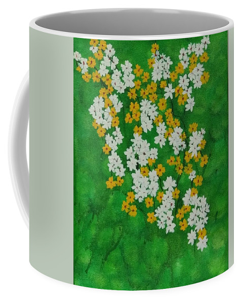 White Wild Small Flowers Coffee Mug featuring the painting Wild Flowers by Sabiha Hasan