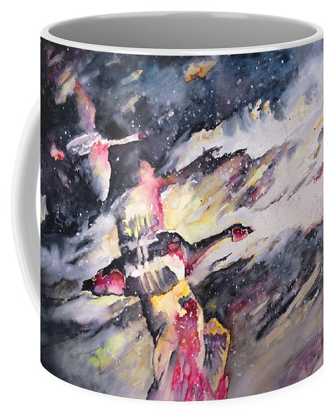 Birds Painting Coffee Mug featuring the painting Wild Geese Flying In A Snow Storm by Miki De Goodaboom