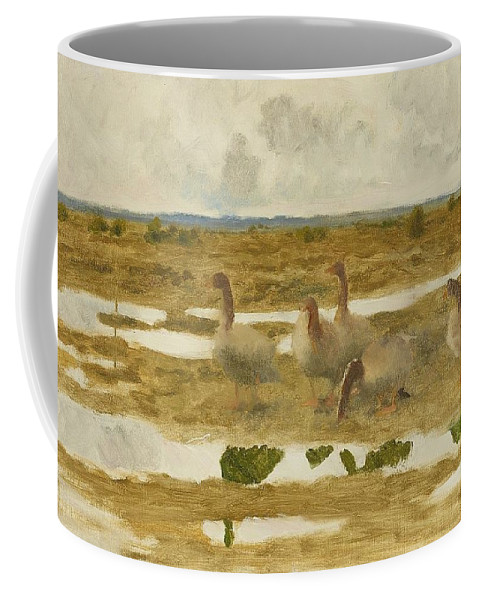 Bruno Liljefors 1860-1939 Wild Geese In The Marsh - Study Coffee Mug featuring the digital art Wild Geese In The Marsh by Mark Carlson