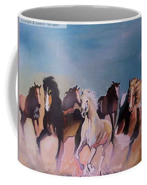 Coffee Mug featuring the painting Wild Horses by Lisandro Rodriguez