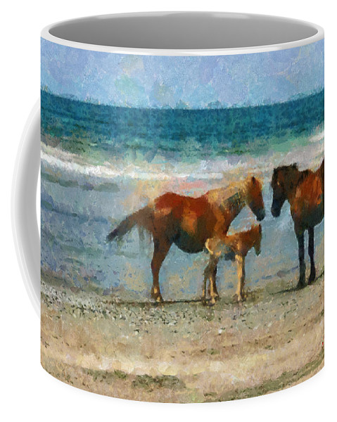 Horse Coffee Mug featuring the painting Wild Horses Of The Outer Banks by Lynne Jenkins
