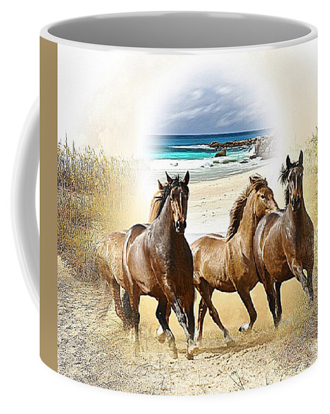 Wild Horses Coffee Mug featuring the mixed media Wild Horses On The Beach by Clive Littin