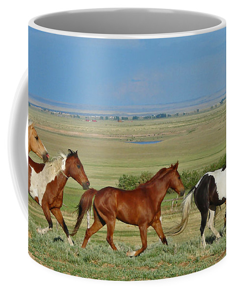 Herd Coffee Mug featuring the photograph Wild Horses Wyoming by Heather Coen