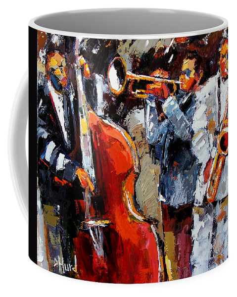 Jazz Coffee Mug featuring the painting Wild Jazz by Debra Hurd