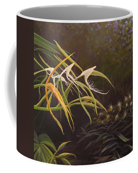 Caribbean Coffee Mug featuring the painting Wild Orchids by Hunter Jay