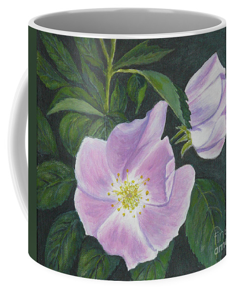 Acrylic Paintings Coffee Mug featuring the painting Wild Rose by Sheryn Johnson