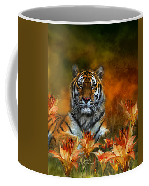 Tiger Coffee Mug featuring the mixed media Wild Tigers by Carol Cavalaris
