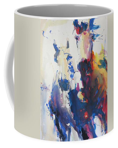 Horse Coffee Mug featuring the painting Wild Wild Horses by Robert Joyner