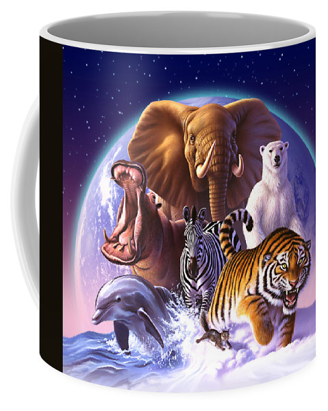 Mammals Coffee Mug featuring the painting Wild World by Jerry LoFaro