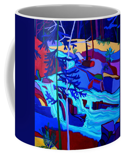 Landscape Coffee Mug featuring the painting Wildcat River Waterfall Jackson NH by Debra Bretton Robinson
