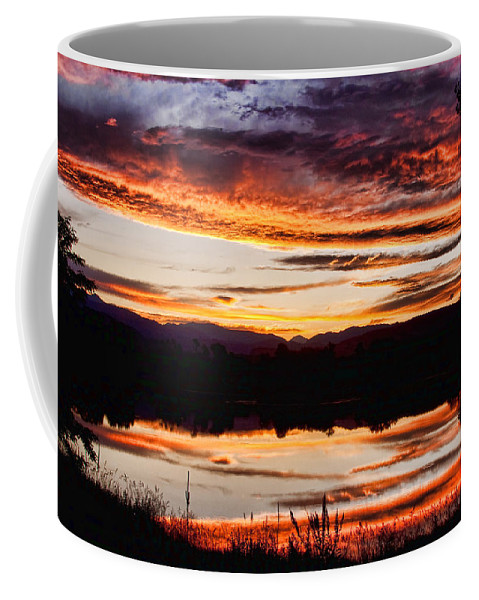 Sunset Coffee Mug featuring the photograph Wildfire Sunset Reflection Image 28 by James BO Insogna