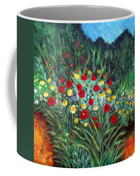 Abstract Coffee Mug featuring the painting Wildflower Garden 1 by Nancy Mueller