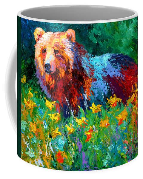 Bear Coffee Mug featuring the painting Wildflower Grizz II by Marion Rose