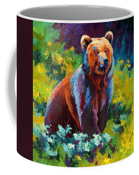Bear Coffee Mug featuring the painting Wildflower Grizz by Marion Rose