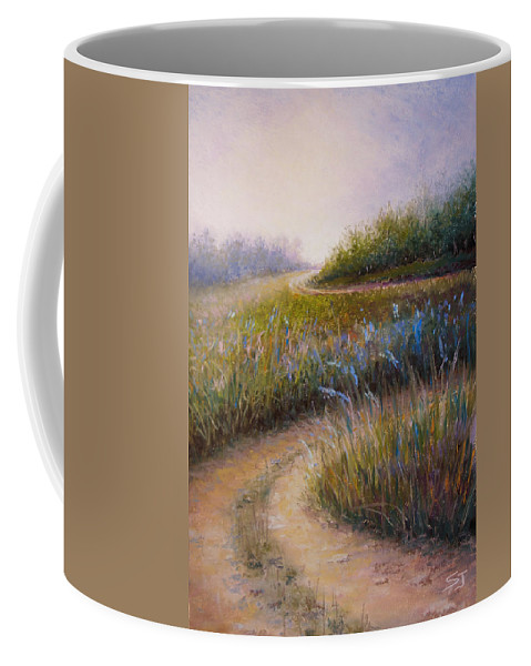 Lanscape Coffee Mug featuring the painting Wildflower Road by Susan Jenkins