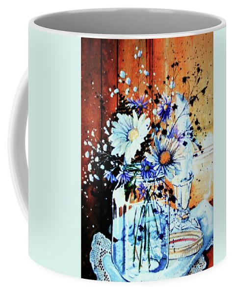 Wildflowers In A Mason Jar Coffee Mug featuring the painting Wildflowers In A Mason Jar by Hanne Lore Koehler