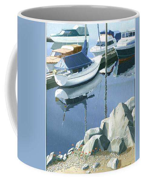Sailboat Coffee Mug featuring the painting Wildflowers On The Breakwater by Gary Giacomelli