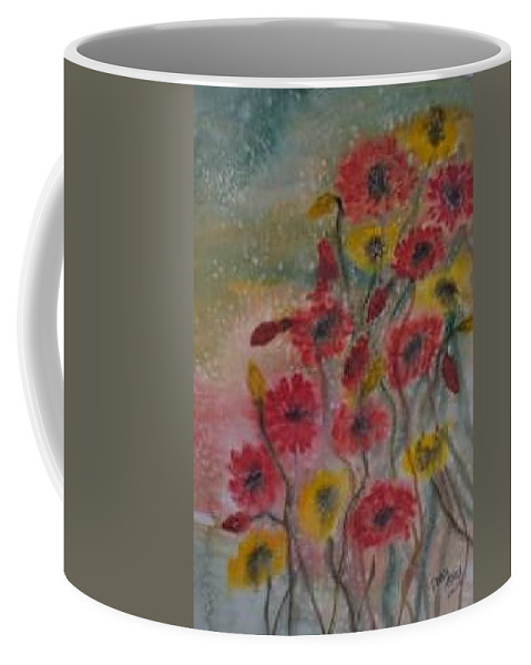 Watercolor Coffee Mug featuring the painting WILDFLOWERS still life modern print by Derek Mccrea