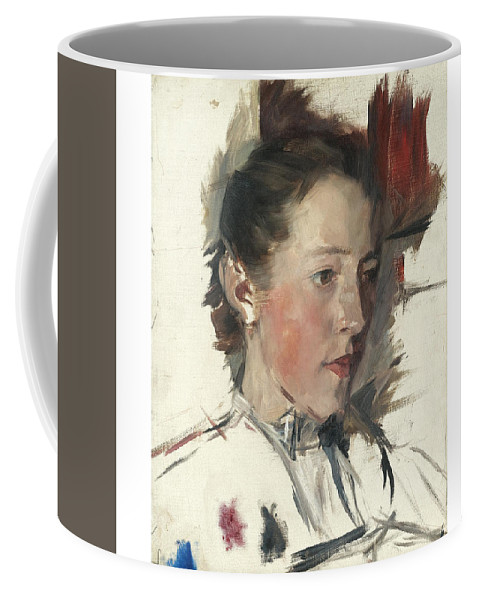 Girl Coffee Mug featuring the painting Wilhelm Leibl 1844 - 1900 German Bauernmadchen Farm Girl by Wilhelm Leibl