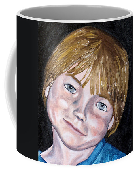 Boy Coffee Mug featuring the painting Will by Jean Haynes