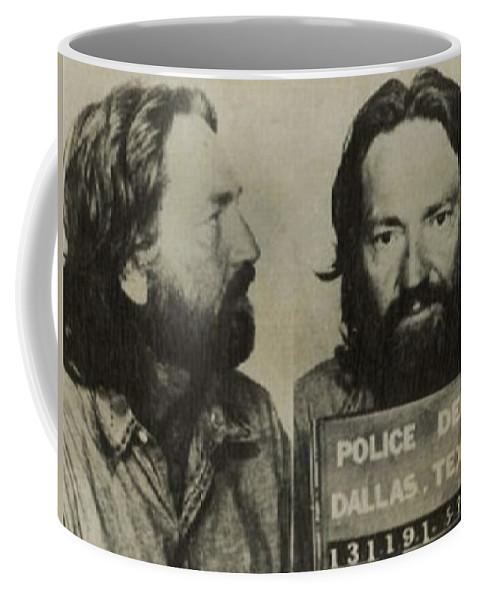 Willie Nelson Coffee Mug featuring the painting Willie Nelson Mug Shot Horizontal Sepia by Tony Rubino