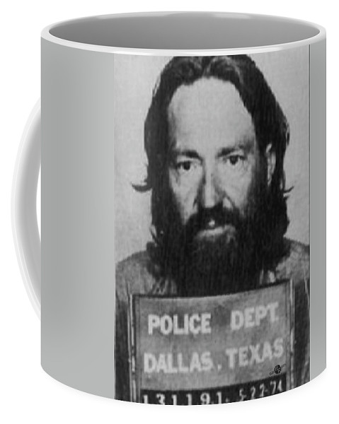 Willie Nelson Coffee Mug featuring the painting Willie Nelson Mug Shot Vertical Black And White by Tony Rubino
