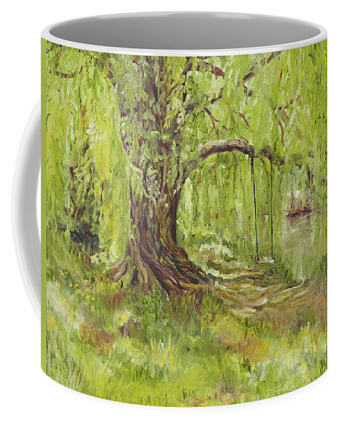 Green Coffee Mug featuring the painting Willow Swing by Susan Hanna