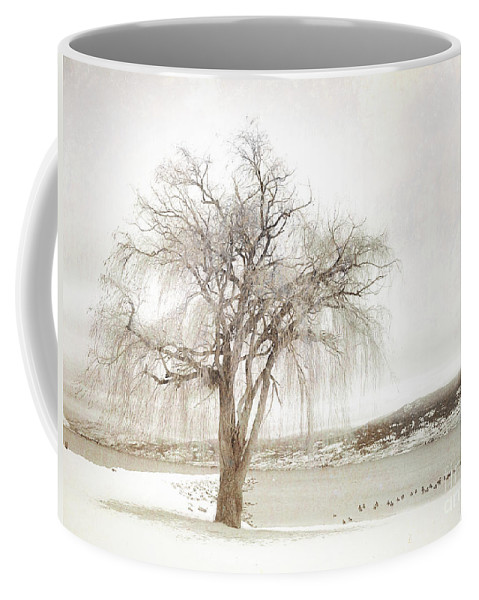 Sepia Coffee Mug featuring the photograph Willow Tree In Winter by Tara Turner