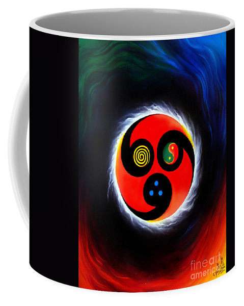 Wind Coffee Mug featuring the painting Wind And Stream. Energy. Monada by Sofia Metal Queen