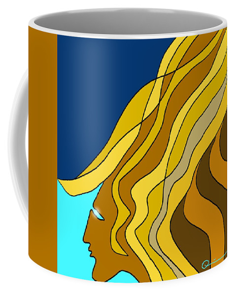 Face Coffee Mug featuring the digital art Wind Goddess by Jeff Quiros
