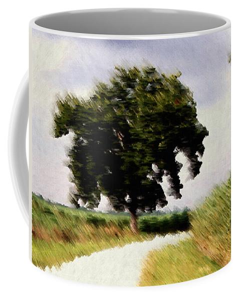 Breeze Coffee Mug featuring the digital art Wind Motif Old Dam Road by RC DeWinter