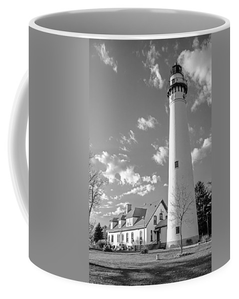 Wind Point Lighthouse And Old Coast Guard Keepers Quarters.  Black And White Coffee Mug featuring the photograph Wind Point Lighthouse And Old Coast Guard Keepers Quarters.  Black And White by Susan McMenamin