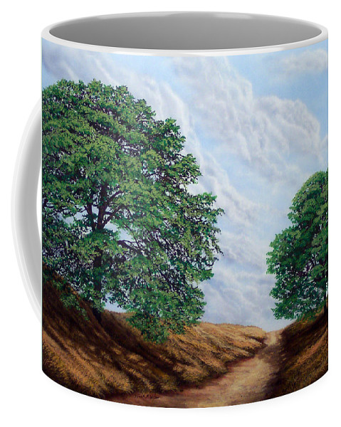 Landscape Coffee Mug featuring the painting Windblown Clouds by Frank Wilson