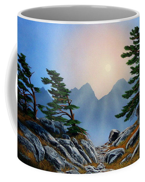 Windblown Pines Coffee Mug featuring the painting Windblown Pines by Frank Wilson