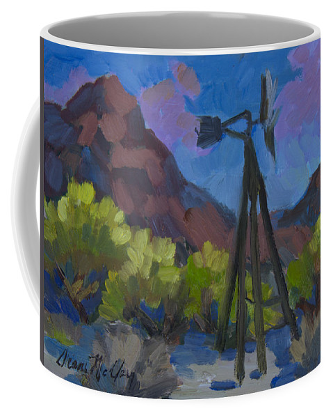 Joshua Tree Coffee Mug featuring the painting Windmill At Keys Ranch Joshua Tree by Diane McClary
